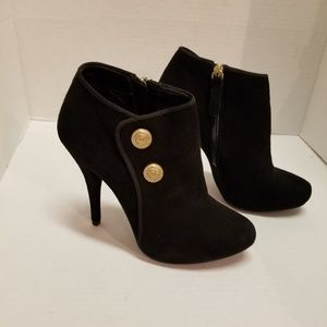 GUESS Belle Suede Ankle Booties Black 7.5